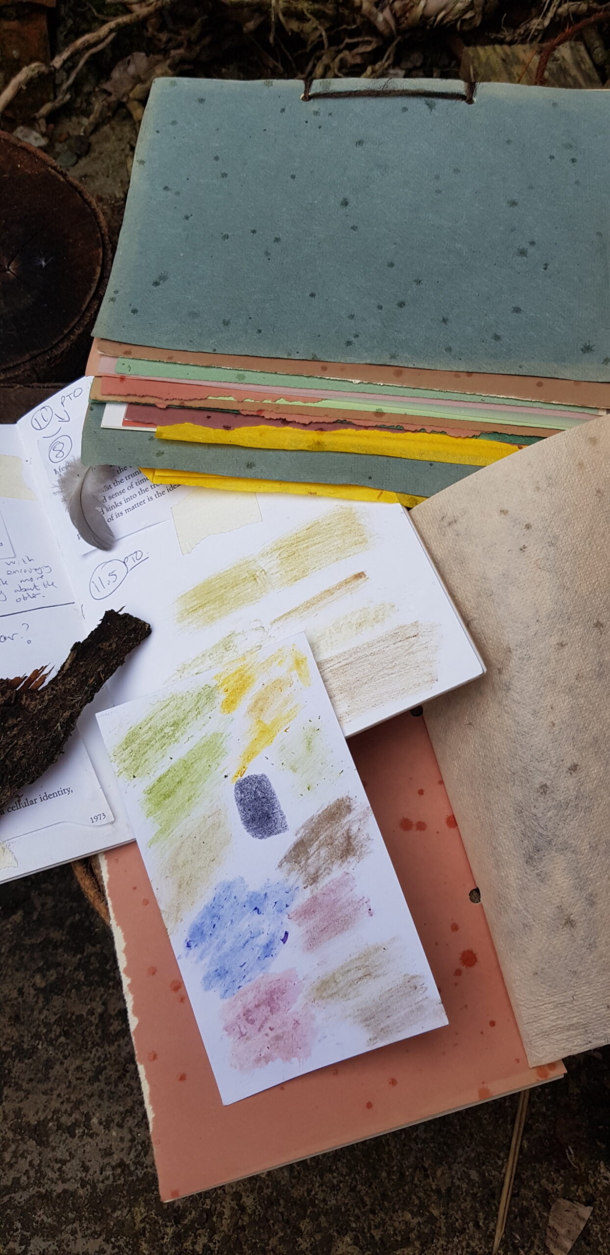 Handmade sketch books from poetry walks for adults.
